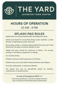 Splash Pad Rules